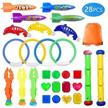 UNGLINGA Diving Swimming Pool Toys Set Underwater Toy Rings Torpedo Band... - $17.46