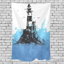 Wall Tapestry Blanket Beautiful Lighthouse Landscape Pattern Farmhouse T... - $26.00