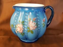 Fenton Art Glass TWILIGHT BLUE Overlay Beaded Melon Squat Pitcher Hand P... - $79.95