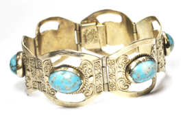 """Sterling Silver Mexico Eagle Face Stamp Turquoise Link Bracelet 24mm 6-1/4"""" - $49.49"""