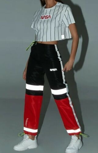 Forever 21 NASA Reflective Joggers Jogging Sweat Pants Red Black Size S NEW
