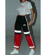 Forever 21 NASA Reflective Joggers Jogging Sweat Pants Red Black Size S NEW - $29.60
