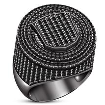 Anniversary Mens Band Ring Round Cut Sim Diamond Black Rhodium Finish 925 Silver - £142.71 GBP