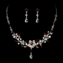 Austrian Crystal Rhinestone Formal Holiday Prom Necklace Set Red Blue Pi... - $69.95