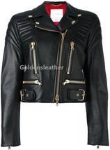 WOMEN BIKER MOTORCYCLE CASUAL SLIM FIT RIDER REAL GENUINE  LEATHER JACKET-AU-127