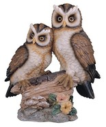 "StealStreet Polyresin Tan and Brown Owls Perched On Tree Log Figurine, 6.5"" - $10.82"