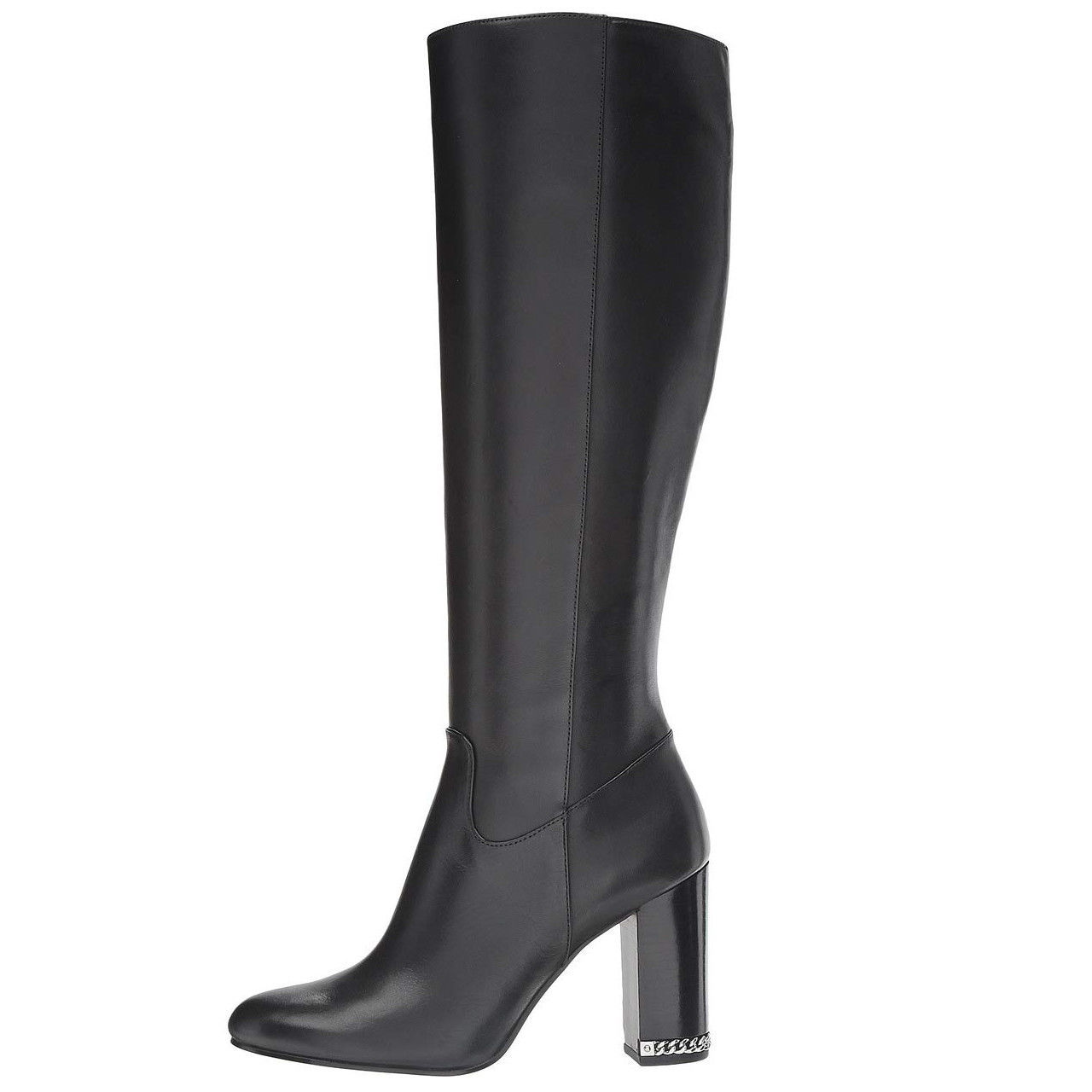 Michael Kors MK Women's Knee High Tall Stacked Heel Leather Walker Boots Black