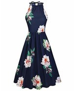 KILIG Women's Halter Neck Floral Summer Dress Strap Sundress with Pocket... - $27.59