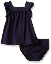 Nautica Baby Flutter Sleeve Dress with Eyelet Trim, Navy, 24 Months