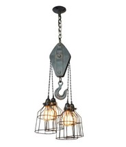 Farmhouse Vintage-Style Pulley Light With 4-Wire cages, E-26 Edison Type Bulbs - $165.00
