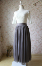 PLUS SIZE Gray Full Long Tulle Skirt Adult Gray Wedding Bridesmaid Skirt Dress image 2