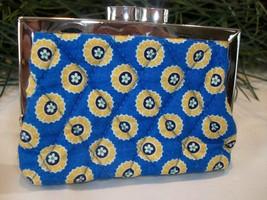Vera Bradley Kiss Riviera Blue Kisslock Coin Purse Wallet Blue Yellow - $24.00
