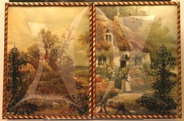 """Set of 2 Convex Glass 6 1/2"""" X 8 1/2"""" Silhouette Pictures Cottage Scene 130"""