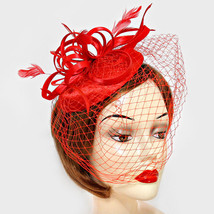 Feather and Curly Bow Birdcage Veil Fascinator - $39.00