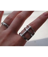 CROSS RING KNUCKLE ART ARMOR BOHO ANTIQUE SILVER SIZE 7.5  - $18.99