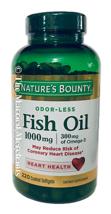 Nature's Bounty 1000 mg Odor-Less Fish Oil  220 Softgels each 1/2022 FRESH! - $15.88