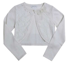 Bonnie Jean Big Girl Tween 7-16 Ivory Lace Front Knit Cardigan Sweater  image 1