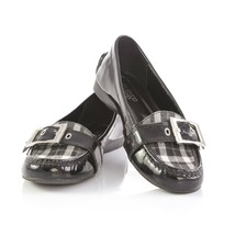 Franco Sarto Shiloh Black Patent Leather Plaid Loafers Flats Shoes Womens 8 - $34.47
