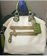COACH MADISON SPECTATOR LEATHER JULIANNE 13245 PARCHMENT/GREEN TOTE SATCHEL - $133.65