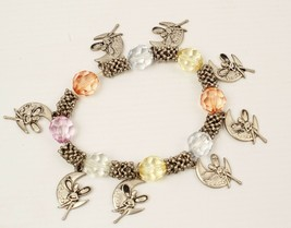 Disney Tinkerbell Bracelet 1997 Metal and Glass Beads Stretchy - $8.41