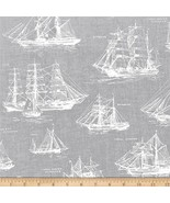 Robert Kaufman Down By The Sea Boats Gray 100% cotton fabric by the yard - $9.51