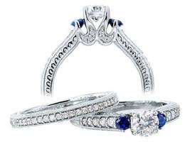 925 Sterling Silver 14k White Gold Finish Round Cut CZ Bridal Wedding Ring Set - $89.57