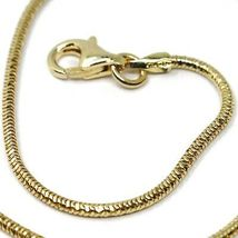 """SOLID 18K YELLOW GOLD CHAIN ROUND BOX SNAKE 1.5 mm, BRIGHT, 40cm, 16"""" inches image 3"""