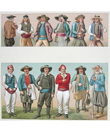 FRANCE Costume of Brittany Men Bretons - SUPERB Color Antiqe Print by A.... - $22.95