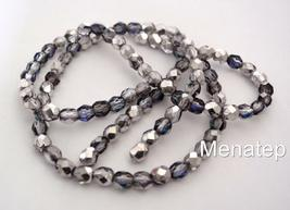 25 6 mm Czech Glass Firepolish Beads: Silver/Blue/Crystal - $1.56