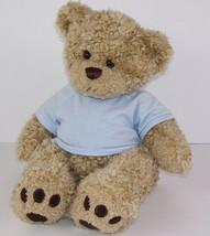 "Build a Bear Tan Teddy Bear Stuffed Animal 15"" Blue T-Shirt  Musical Heart Beat - $12.86"