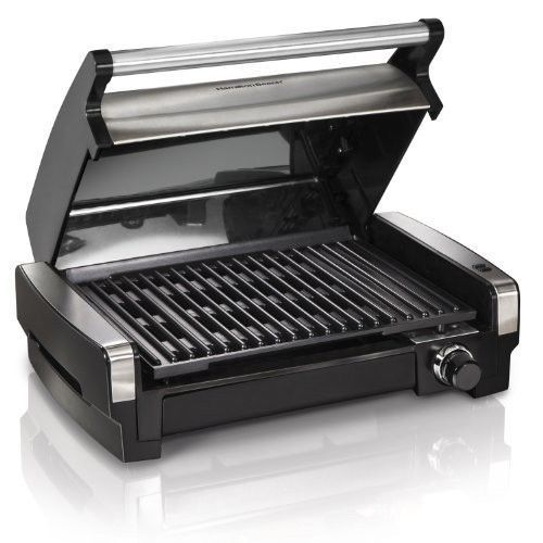 Hamilton Beach Electric Indoor Flavor Searing Smokeless Grill Stainless Steel for sale  USA