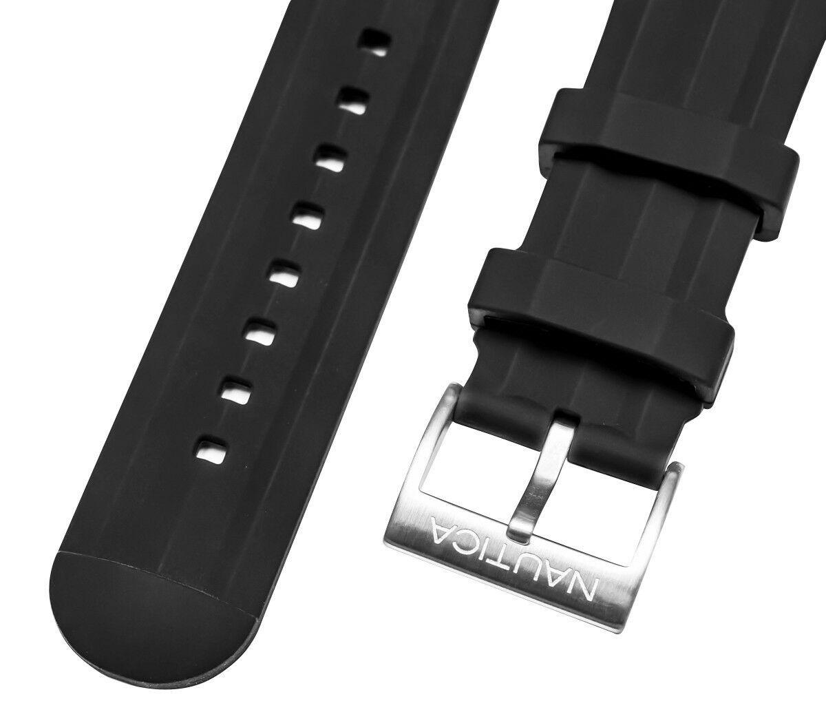 Nautica Men's N18722G | A18722G NST 101 Black Silicone 24mm Original Watch band