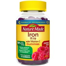 Nature Made Iron Gummies 18 mg with Vitamin C, 72 ct for Red Blood Cell ... - $25.99