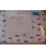 Authentic Kids Airplanes on White Cotton Sheet Set Full - $58.00