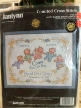1992 Janlynn Counted Cross Stitch Happy Babies Birth Sampler newborn gift  - $14.97