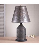 FIRESIDE new blacken punch tin 3 way Revere table lamp w/ tin shade - $199.95