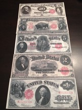 Reproduction 5 Piece United States Notes $1 $2 $5 $10 $20 1880-1917 Paper Money - $11.87