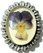 Sterling Silver 925 Genuine Orchid Flower Resin Brooch Pin Pendant Combo... - $17.99