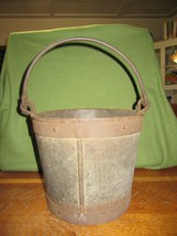 "Antique Steel Bucket Pail--Heavy Steel Rimmed-Handle-9 1/2"" Tall - $70.00"