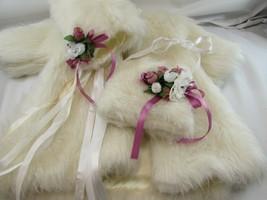 "Vintage WHITE FAUX FUR Coat BONNET Muff Jan Nahrgang Laura 22"" Doll 3313... - $44.54"
