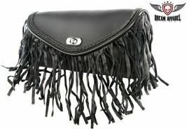 Black REAL LEATHER WINDSHIELD BAG W/ Fringe & Braid for HARLEY DAVIDSON - $35.06