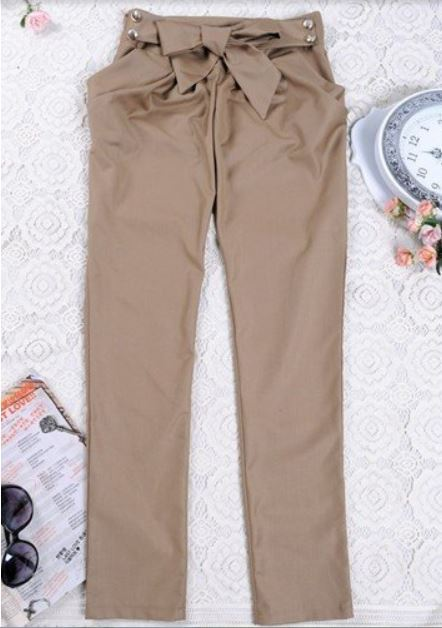 Bowtie High Waisted Skinny Jeans Long Trousers Pants