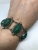 Vintage Green Onyx Face Carved Fetish 925 Sterling Silver Bracelet  - $133.65