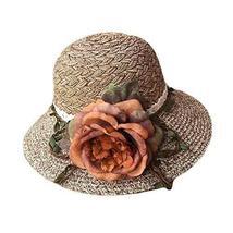PANDA SUPERSTORE Women Fashion Folding Straw Hat Summer Travel Beach Cap Wide Br