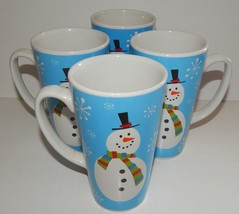 4 Christmas Stoneware Tall Large Mugs Cups Snow Flake Snowman Design Blu... - $39.59