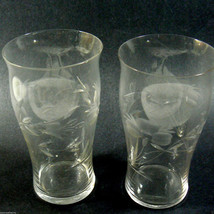 Set of 2 tall glasses etched grape design ~very pretty shape~ - $35.64