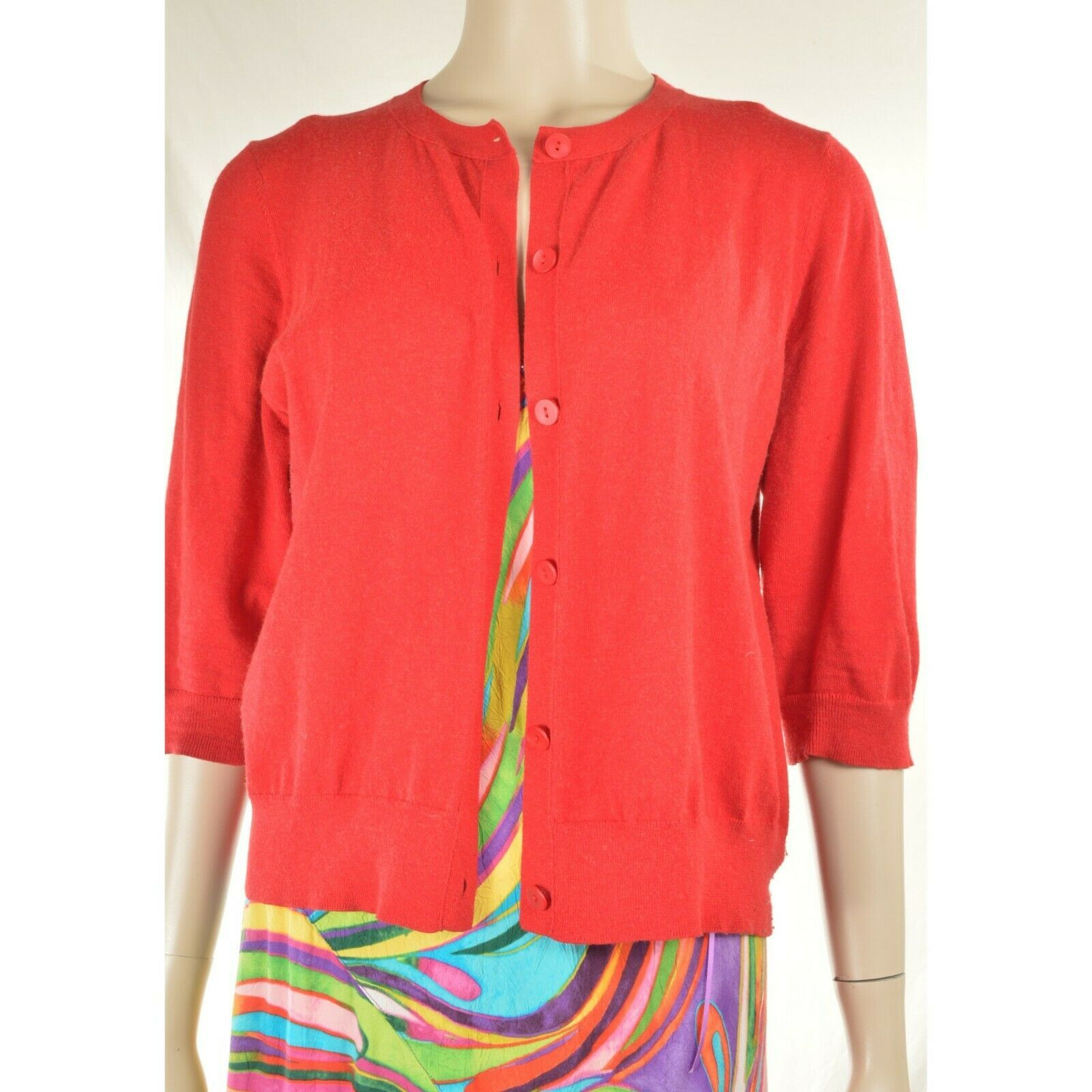 Eileen Fisher sweater M red cardigan 3/4 sleeves organic cotton cashmere blend image 12
