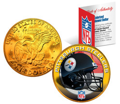 PITTSBURGH STEELERS NFL 24K Gold Plated IKE Dollar US Coin *OFFICIALLY L... - $9.85