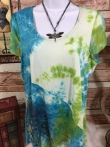 One World live and let live Women's size M Tie Dye Short sleeve top (L) - $9.49