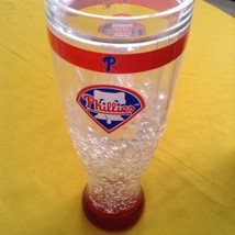 Phillies MLB mug glass Duck House large cooler insulated heavy plastic white red - $13.49